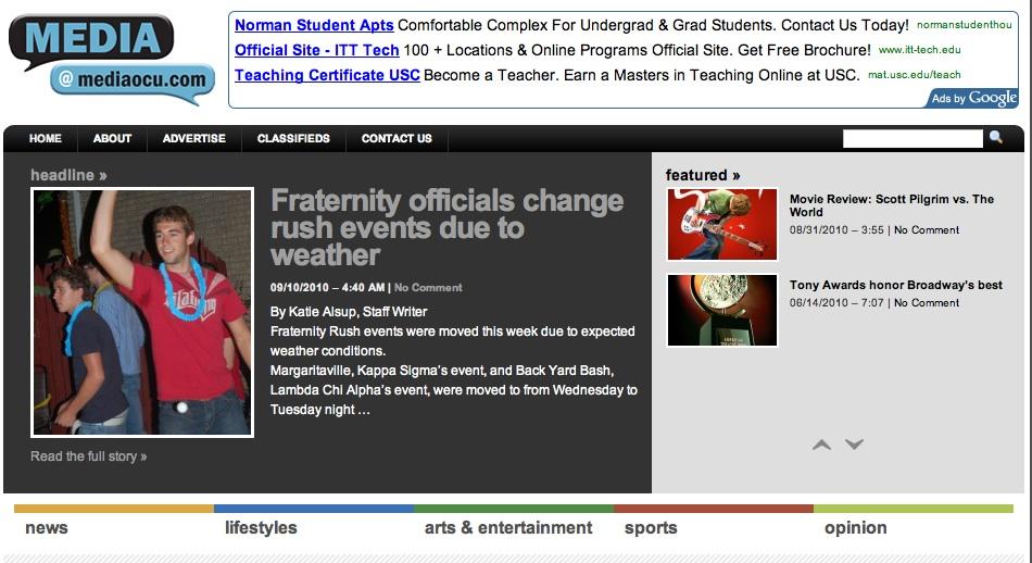 College media using WordPress for student websites - Prof KRG